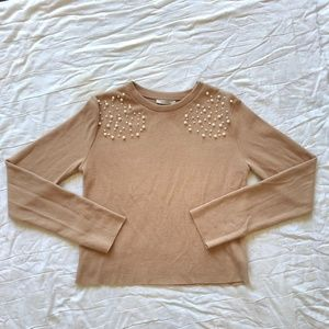 ZARA Nude Soft Sweater with Pearls